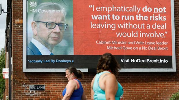 Posters put up in UK by anti-Brexit campaign group Led By Donkeys