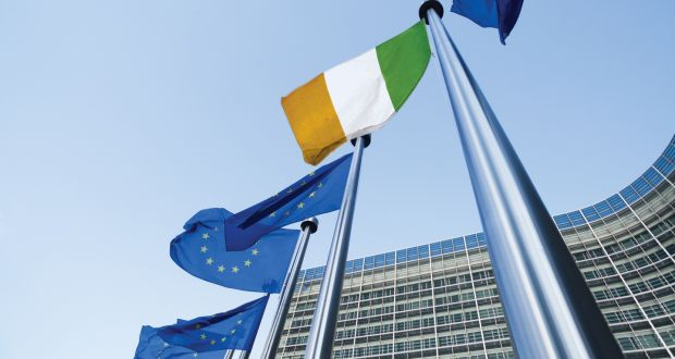 EU flags alongside Ireland's flag in front of the Berlaymont building, Brussels. There is no reason why Ireland in time cannot open new markets in continental Europe, with relatively easy transport access to Belgium, France and Spain. Photograph: iStock/Getty