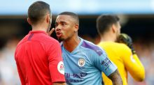 Manchester City's Gabriel Jesus appeals to the match referee Michael Oliver after his goal is ruled out by VAR. Photograph: PA