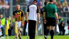 Kilkenny's Richie Hogan walks past manager Brian Cody after being sent off during the All-Ireland SHC final against Tipperary at Croke Park. Photo: Tommy Dickson/Inpho