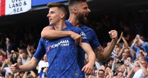Chelsea's Mason Mount celebrates scoring during Premier League win over Leicester City at Stamford Bridge. Photo: Andy Rain/EPA