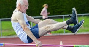 RAISE THE BAR: Noel Monteith competes in the men's over-70s high jump during the Irish Life Health National Masters Track and Field Championships in Co Offaly. Photograph: Matt Browne/Sportsfile