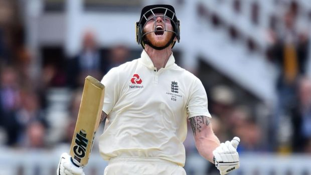 England's Ben Stokes reacts after reaching his century during play on the fifth day of the second Ashes Test at Lord's. Photograph: Glyn Kirk/AFP