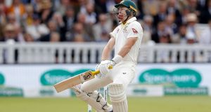 Marnus Labuschagne of Australia is struck on the helmet by a delivery from Jofra Archer of England during day five of the second  Ashes Test  at Lord's. Photograph: Ryan Pierse/Getty Images