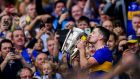 Tipperary captain Séamus Callanan kisses the Liam MacCarthy Cup following his county's victory over  Kilkenny in the  All-Ireland final  at Croke Park.   Photograph:   Piaras Ó Mídheach/Sportsfile