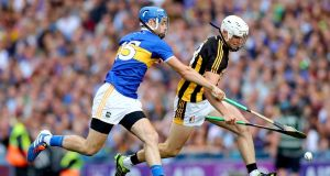 Angela Downey's son Conor Browne in action for Kilkenny. Photograph: James Crombie/Inpho