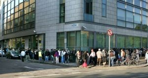 Large queues at National Immigration Bureau office on Burgh Quay, shortly after 7am in 2016. File Photograph: David Sleator