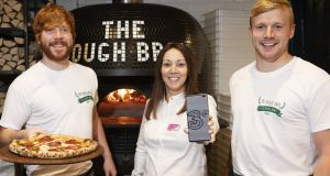 Jenny Rodden, Three Store manager in Galway, with Eugene and Ronan Greaney from The Dough Bros Wood Fired Pizza, one the businesses that uses the 3Plus app to find new customers. Photo: Andrew Downes/xposure.ie