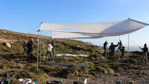 Artists and crew rigging Oii, part of the Tombolo 19 residency and exhibition at Brow Head, Mizen Peninsula, west Cork. Photograph: Al Cahill