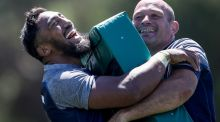 Ireland's Bundee Aki and Rory Best during training at The Campus, Faro, Portugal, where they the squad have been since last Wednesday. Photograph:  Dan Sheridan/Inpho