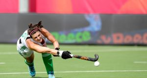 Róisín Upton scored from four penalty corners in the 11-0 win over Belarus in the  EuroHockey Championship in Antwerp. Photograph:  Frank Uijlenbroek/World Sport Pics