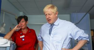 British prime minister Boris Johnson  during a visit to the Royal Cornwall Hospital in Truro on Monday. Photograph: Simon Dawson/EPA