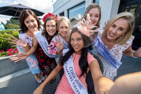 BUNCH OF ROSES: Some of this year's Roses are seen at the Glenroyal Hotel, Maynooth, en route to the 2019 Rose of Tralee International Festival. Photograph: Domnick Walsh/Eye Focus LTD