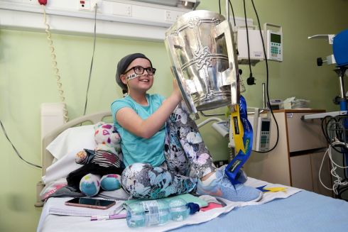 CHAMPION CARLA: Carla O'Connell (10) is pictured during a visit from the GAA All-Ireland hurling champions Tipperary to Crumlin children's hospital, Dublin. Photograph: INPHO/Laszlo Geczo