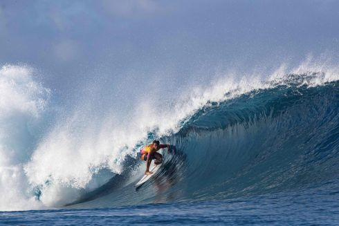 WAVE AROUND: Surfer Kauli Vaast competes at the famous break Teahupo'o during the 2019 Tahiti Pro Teahupo'o trials. Photograph: Brian Bielmann/AFP/Getty Images