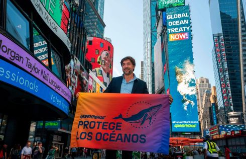 SEA CHANGE: Actor Javier Bardem poses in Times Square in New York ahead of addressing the UN during its Global Ocean Treaty negotiations. Photograph: Don Emmert/AFP/Getty Images