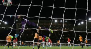 Wolverhampton Wanderers' Ruben Neves scores against Manchester United at Molineux. Photograph: PA