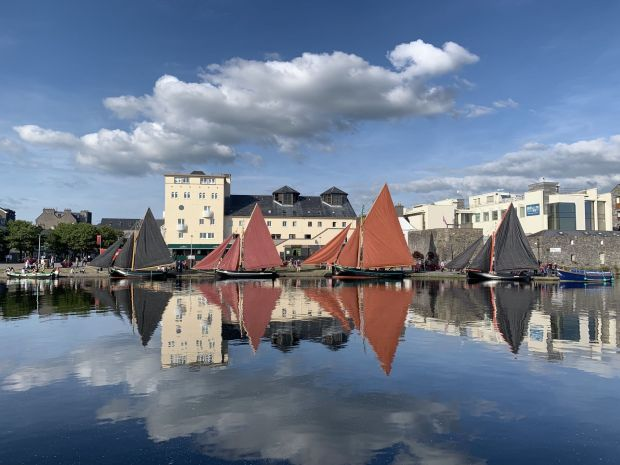 Four Galway hookers at the Spanish Arch. Photograph: John Cunningham