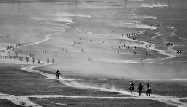 Race to the finish. Naadam Festival, Mongolia. Photograph: Leo Murphy