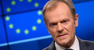 People opposing the Brexit backstop without coming up with a realistic alternative support the return of an Irish Border, European Council president Donald Tusk has said. File photograph:  Sean Gallup/Getty Images.
