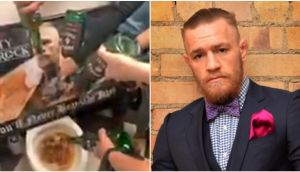 The owner of the Salty Shamrock criticised McGregor's alleged behaviour while his staff poured the whiskey into the toilet with a picture of McGregor on it. Photograph: Facebook/ David Sleator