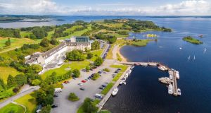 Aerial view of the Hodson Bay Hotel on Lough Ree.