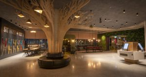 The Instagram-friendly feature wooden tree, which is encircled with soft seating in Dublin's new €55 million Marlin hotel.