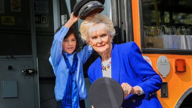 Mya Lynn (8) from Lucan dressed in a Dublin Bus uniform with motor racing legend Rosemary Smith at the launch of the Dublin Bus female recruitment drive. Photograph: Gareth Chaney/Collins
