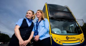 Dublin Bus drivers Suzanne Armstrong and Tina Ahern at the launch of the recruitment campaign. Photograph: Tom Honan/The Irish Times.