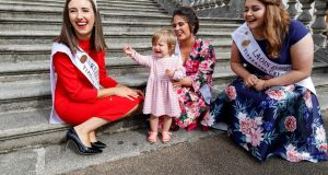 A FUTURE STAR: Willow White (1) from Celbridge with Kerry Rose Sally-Ann Leahy, Longford Rose Marie Brady and Laois Rose Sarah Bergin as Dáithí Ó Sé introduced all 32 hopeful Roses for the first time ahead of this year's Rose of Tralee competition in Castletown House, Celbridge, Co Kildare. Photograph: Andres Poveda