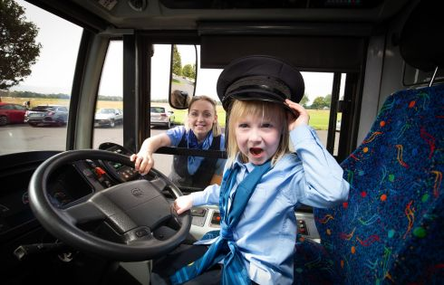 RECRUITMENT DRIVE: Naoise O'Molloy (5) from Trim, Co Meath, with Dublin Bus driver Suzanne Armstrong at the launch of Dublin Bus's effort to recruit more women drivers. Photograph: Tom Honan