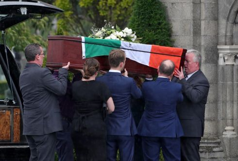 CAMPAIGNING UNTIL THE END: The remains of Anne Delcassian, sister of murdered Louth woman Irene White, are brought to Glasnevin crematorium for her funeral. Ms White was stabbed more than 30 times at her Dundalk home in 2005. Two men were given life sentences for murder, but they have refused to identify a third man, who is understood to have commissioned the killing. Photograph: Colin Keegan/Collins