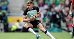 Ireland's Garry Ringrose in action against Italy in the Guinness Summer Series at the  Aviva Stadium on Saturday August 10th. Photograph: Billy Stickland/Inpho