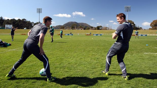 Ronan O'Gara and Brian O'Driscoll at Ireland Rugby squad training in New Zealand for the 2011 Rugby World Cup. Photograph: Dan Sheridan/Inpho