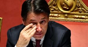 Italian prime minister Giuseppe Conte. Political instability in Italy affected  some  heavyweight firms in London and Europe. Photograph:   EPA/Ettore Ferrari