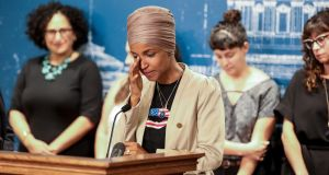 The US president's remarks came as part of a barrage of disparaging comments that threaten to re-ignite an ongoing feud with Democratic congresswomen Ilhan Omar of Minnesota (pictured) and Rashida Tlaib. Photograph: Jenn Ackerman/The New York Times.