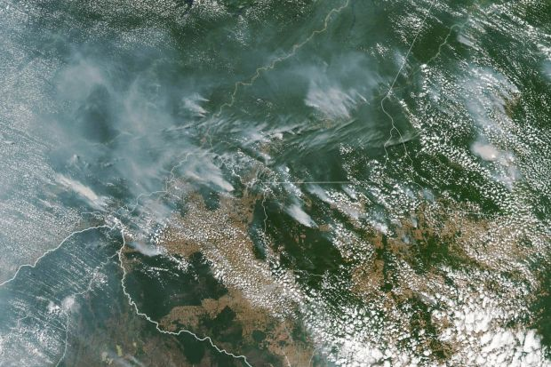 A handout satellite photo made available by NASA showing several fires burning in the Brazilian states of Amazonas (top centre-left), Para (top right), Mato Grosso (bottom right) and Rondonia (bottom centre), August 13th, 2019. Photograph: EPA/NASA