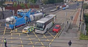 A view of the incident at 8.45am on Wednesday. Photograph: Transport Infrastructure Ireland