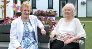 Bridie Higgins and Barbara Carroll  in the garden at Greenpark Nursing Home in  Tuam, Co Galway. Photograph: Joe O'Shaughnessy