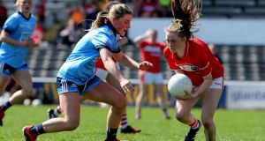 Dublin's Aoife Kane in action against Cork's Eimear Kiely during the league semi-final at Nowlan Park. Photograph: Bryan Keane/Inpho