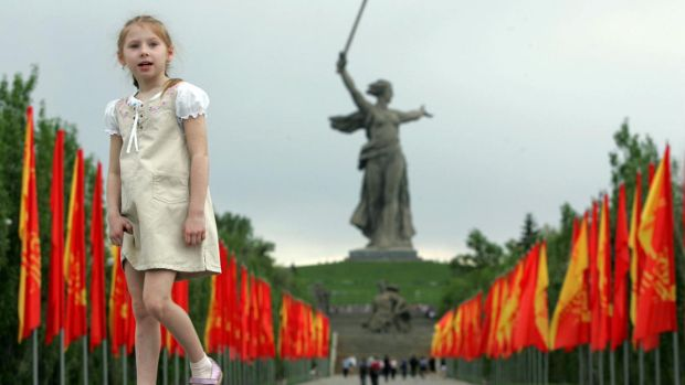 The Motherland Calls statue at the Mamayev Kurgan memorial complex for all the Soviet Soldiers who died in Stalingrad. Photograph: Mikhail Mordasov/AFP/Getty Images