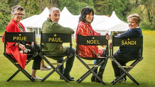 The Great British Bake Off presenters Prue Leith, Paul Hollywood, Noel Fielding and Sandi Toksvig. Photograph: Mark Bourdillon/C4/Love Productions