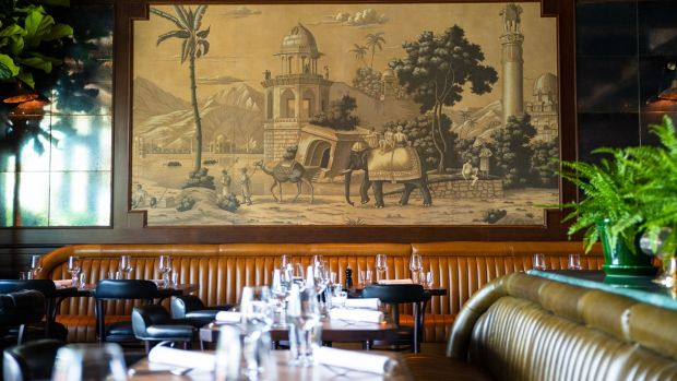 Traditional Indian scenes have been reproduced on wall murals