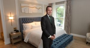 Eamonn Casey, general manager of  the Westin Dublin, in one of the new bedrooms. Photograph: Dara Mac Dónaill/The Irish Times