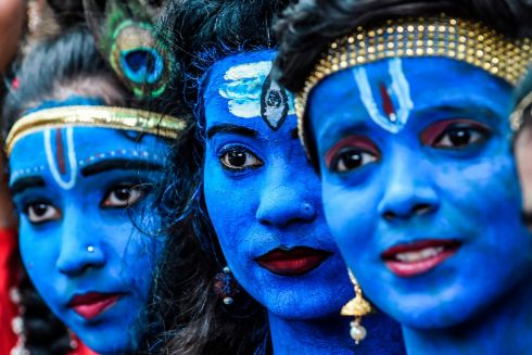 Students dressed up as Hindu gods Lord Krishna and Lord Shiva participate in a cultural event in their school in Mumbai, India. Photograph: Indranil Mukherjee/AFP/Getty Images