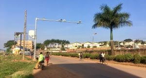 A surveillance camera in Kampala:  some say such gadgets contradict the central tenets of democratic society. Photograph: Sally Hayden