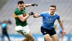 Brian Fenton and Jack Barry in action last year. Photograph: Inpho