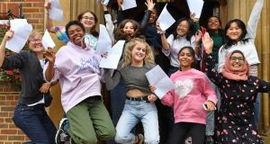 Pupils celebrate with their GCSE results at King Edward VI High School for Girls, in Birmingham. Photograph: Jacob King/PA Wire