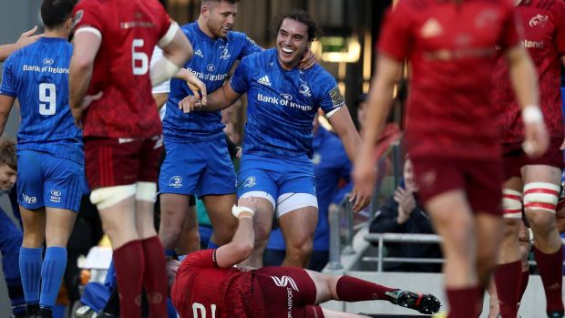 Rugby Leinster's James Lowe is congratulated by Ross Byrne after scoring a try against Munster. Ireland require the same functionality he showed in that game tomorrow. Photograph: Billy Stickland/Inpho