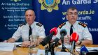 From left,  Deputy Garda Commissioner John Twomey and  Garda Commissioner Drew Harris  during an official announcement of the new Garda operating model. Photograph: Gareth Chaney/Collins